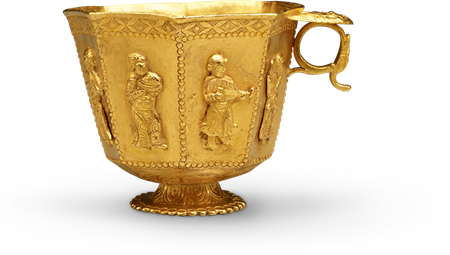 Octagonal cup with musicians and a dancer